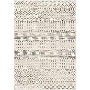 Harput White and Charcoal Rectangular: 7 Ft. 10 In. x 10 Ft. 3 In. Rug