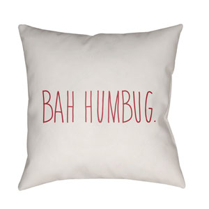 White Bahhumbug 18-Inch Throw Pillow with Poly Fill