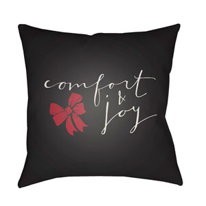 Black Comfort 20-Inch Throw Pillow with Poly Fill