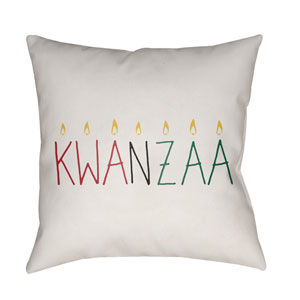 White Kwanzaa II 20-Inch Throw Pillow with Poly Fill