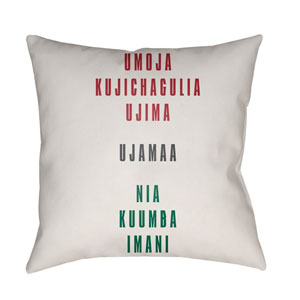 White Kwanzaa III 20-Inch Throw Pillow with Poly Fill