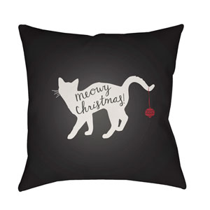 Black Meowy 20-Inch Throw Pillow with Poly Fill