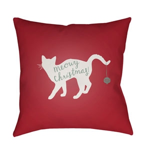 Red Meowy 20-Inch Throw Pillow with Poly Fill