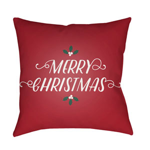 Red Merry Christmas I 20-Inch Throw Pillow with Poly Fill