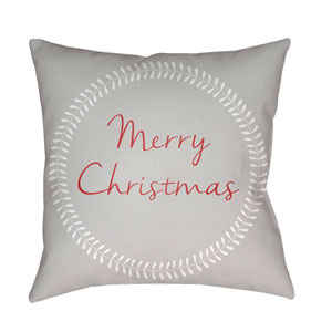 Gray Merry Christmas II 18-Inch Throw Pillow with Poly Fill