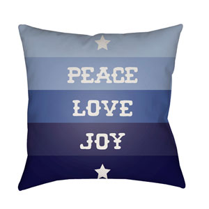 Blue Peace Love Joy 20-Inch Throw Pillow with Poly Fill