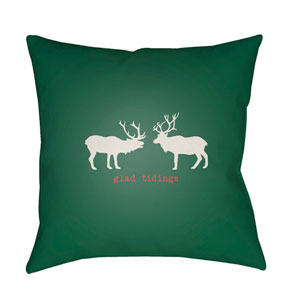 Green Reindeer 18-Inch Throw Pillow with Poly Fill