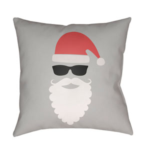 Gray Santa 20-Inch Throw Pillow with Poly Fill