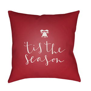Red Tis The Season I 20-Inch Throw Pillow with Poly Fill