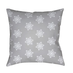 Gray Snowflakes 18-Inch Throw Pillow with Poly Fill