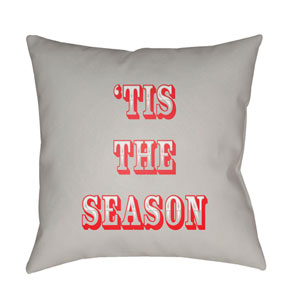 Gray Tis The Season II 18-Inch Throw Pillow with Poly Fill