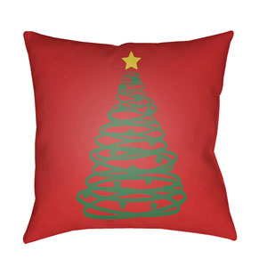 Red Christmas Tree 20-Inch Throw Pillow with Poly Fill