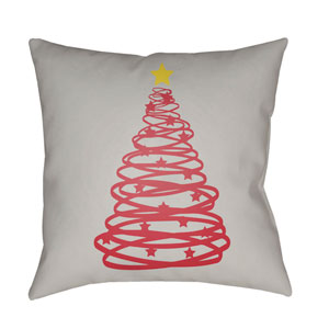 Gray Christmas Tree 18-Inch Throw Pillow with Poly Fill