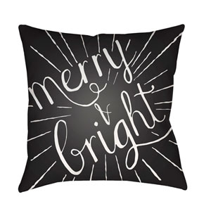 Black Merry and Bright 20-Inch Throw Pillow with Poly Fill
