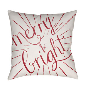 Red Merry and Bright 20-Inch Throw Pillow with Poly Fill