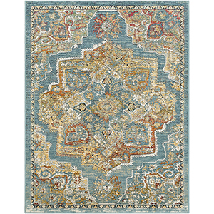 Herati Aqua, Butter and Rust Rectangular: 5 Ft. 3 In. x 7 Ft. 3 In. Rug