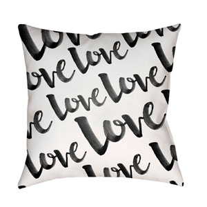 Love Black and White 18 x 18-Inch Throw Pillow