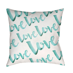 Love Blue and White 20 x 20-Inch Throw Pillow