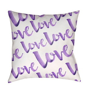 Love Purple and White 18 x 18-Inch Throw Pillow