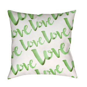 Love Green and White 18 x 18-Inch Throw Pillow
