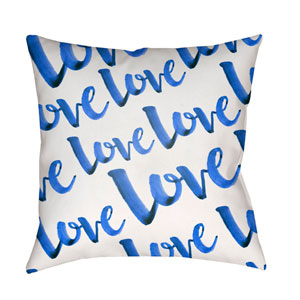 Love Blue and White 18 x 18-Inch Throw Pillow