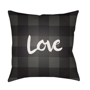Love II Gray and Black 18 x 18-Inch Throw Pillow