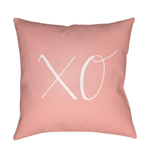 Xoxo Pink and White 18 x 18-Inch Throw Pillow