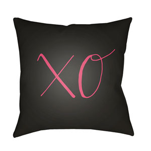 Xoxo Black and Red 20 x 20-Inch Throw Pillow