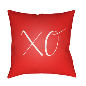 Xoxo Red and White 18 x 18-Inch Throw Pillow