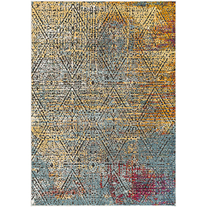 Herati Butter, Aqua and Red Rectangular: 3 Ft. 11 In. x 5 Ft. 11 In. Rug