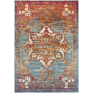 Herati Aqua, Orange and Red Rectangular: 7 Ft. 10 In. x 10 Ft. 6 In. Rug