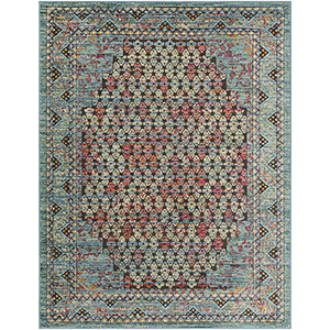 Herati Aqua and Red Rectangular: 7 Ft. 10 In. x 10 Ft. 6 In. Rug