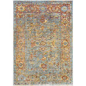 Herati Aqua and Rust Rectangular: 7 Ft. 10 In. x 10 Ft. 6 In. Rug
