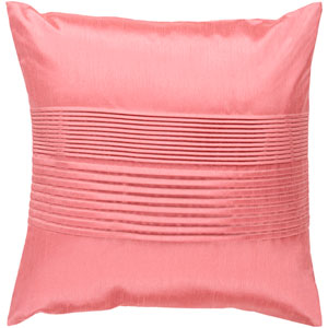 Solid Pleated Pink 22-Inch Pillow Cover