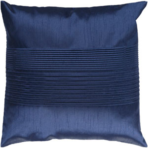 Solid Pleated Blue 22-Inch Pillow Cover