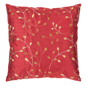 Blossom Red and Brown 22-Inch Pillow Cover