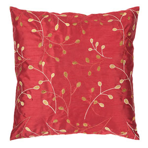 Venetian Red and Bronze Embroidered 18 x 18 Pillow