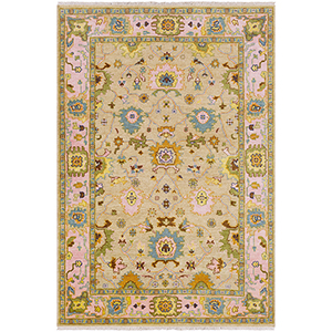 Hillcrest Pink and Sand Rectangular: 5 Ft. 6 In. x 8 Ft. 6 In. Rug