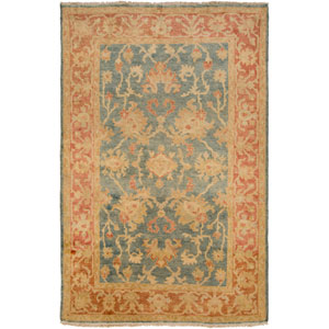 Hillcrest Teal and Rust Rectangular: 2 Ft x 3 Ft Rug