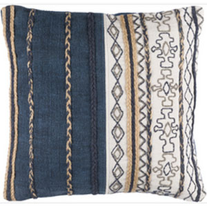 Holston Navy and Ivory 14 x 22-Inch Pillow with Down Fill