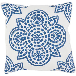 Hemma Blue and Neutral 16 x 16-Inch Pillow