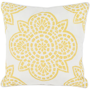 Hemma Yellow and Neutral 16 x 16-Inch Pillow