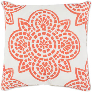 Hemma Burnt Orange and White 20 x 20-Inch Throw Pillow