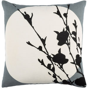 Harvest Moon Gray and Neutral 18-Inch Pillow with Poly Fill