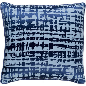 Hessian Cobalt and Slate 20-Inch Pillow with Down Fill