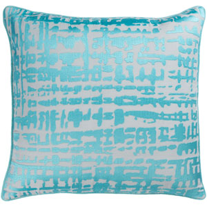 Hessian Aqua and Light Gray 18-Inch Pillow with Poly Fill