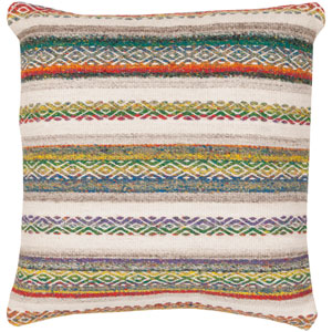 Isabella Red and Neutral 22-Inch Pillow Cover
