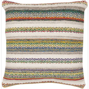 Tender Tribal Multicolor 22-Inch Pillow with Down Fill