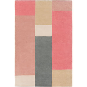 Lina Rose and Khaki Rectangular: 5 Ft. x 7 Ft. 6 In. Rug