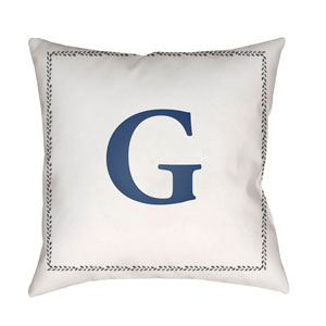 Initials White and Blue 18 x 18-Inch Throw Pillow